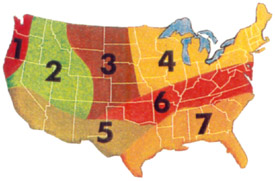 Climate Zones for Grasses in the United States